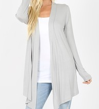 Lt Gray Open Cardigan, Lightweight Drapey Cardigan, Gray Open Cardigan, Womens