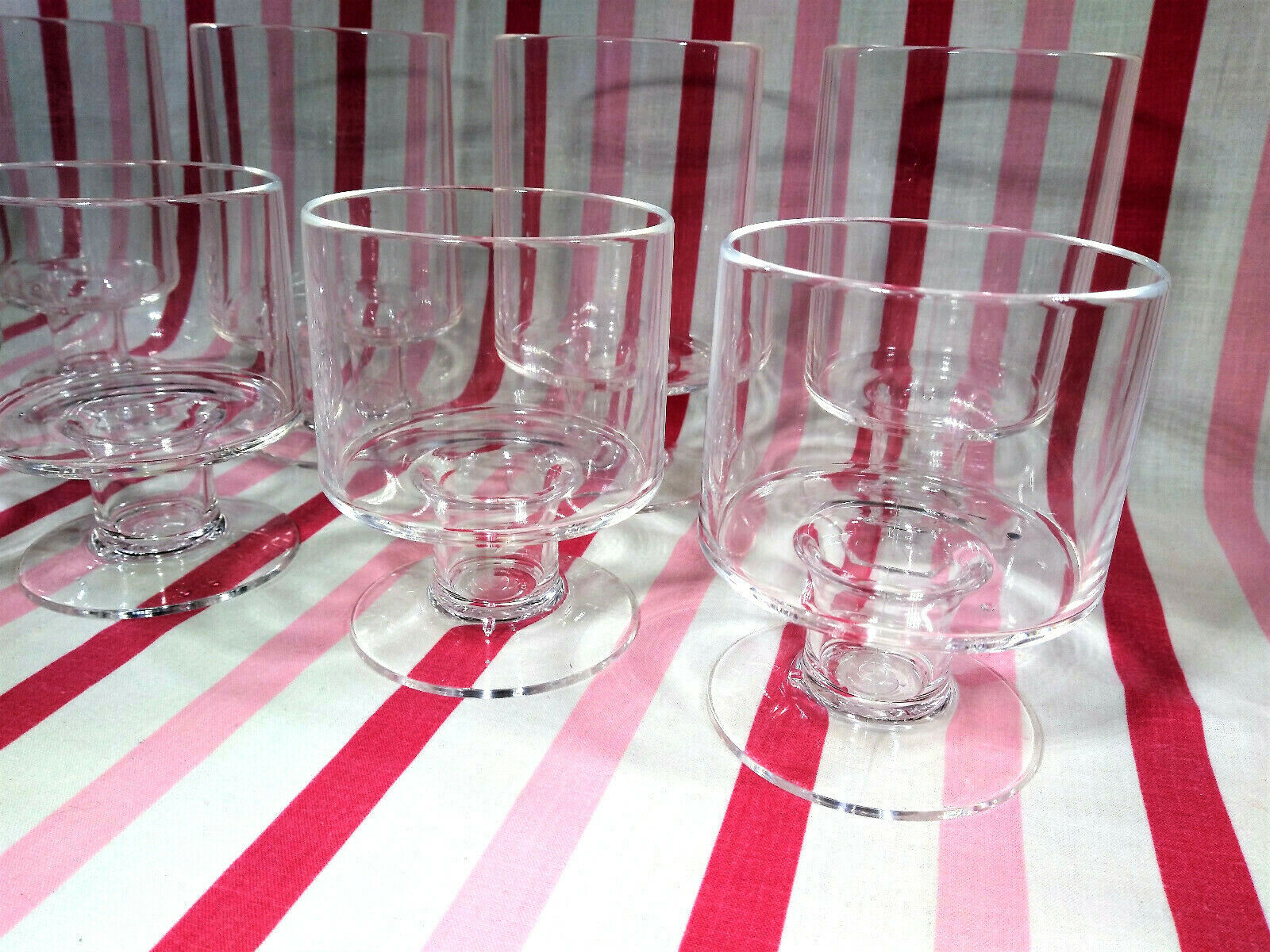 Primary image for Groovy MoD 1960's Plastic Pedestal Kitchen Stemware or Barware 2 Sizes 8pc Set!