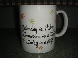 Ceramic Mug Yesterday Tomorrow Today Handpainted - $12.50
