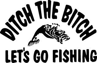 DITCH BITCH GO FISHIN DECAL GRAPHIC CAR TRUCKAUTO SW#56 VAN SEMI POLE WORM BASS
