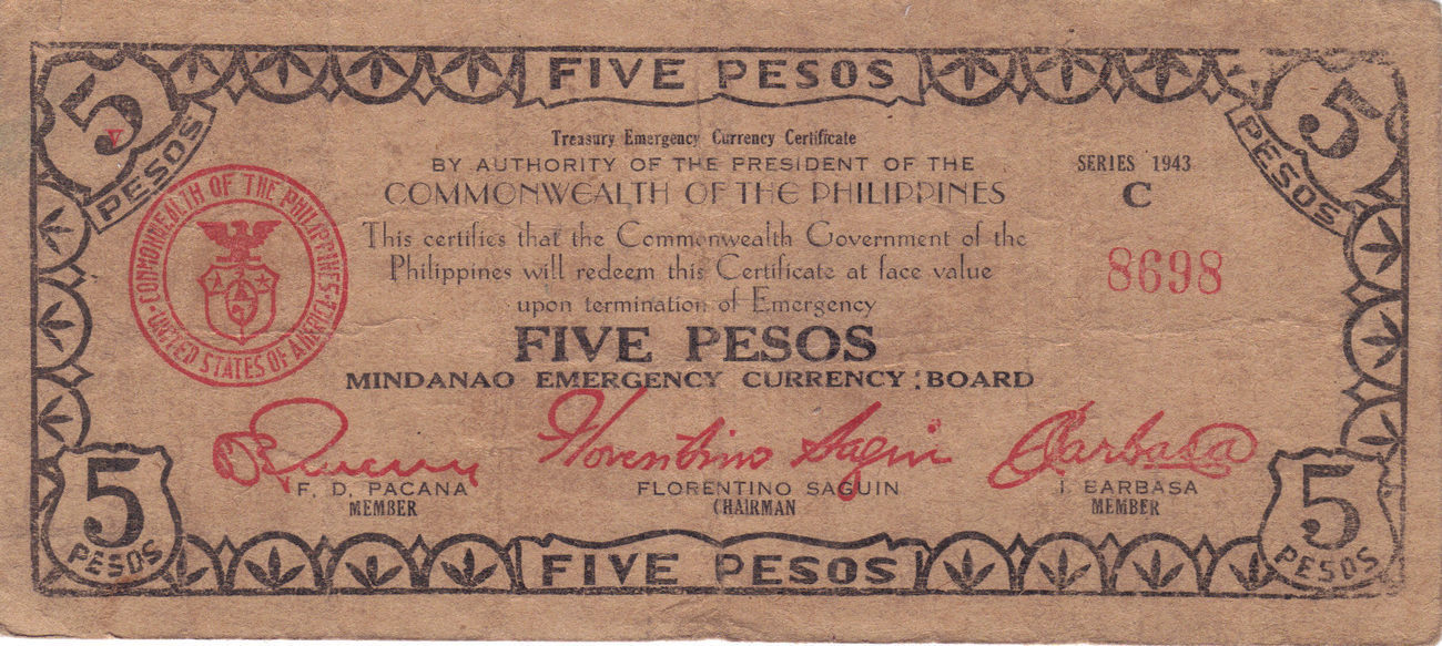 PHILIPPINE 5 Peso Mindanao Emergency Board Currency