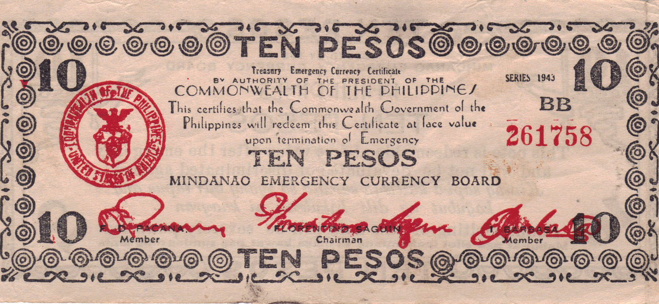 PHILIPPINE 10 Peso Mindanao Emergency Board Currency
