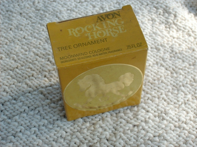 "Avon 1980 ""ROCKING HORSE"" Tree Ornament w/.75 oz Moonwind Cologne - New In Box!"