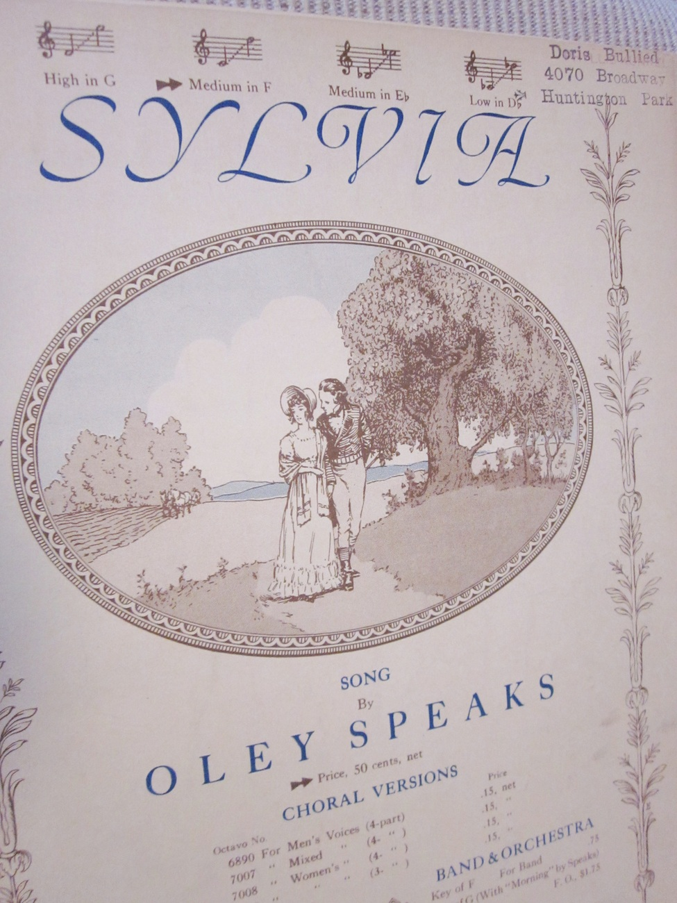 Vintage Sheet Music Sylvia Song by Oley Speaks 1914
