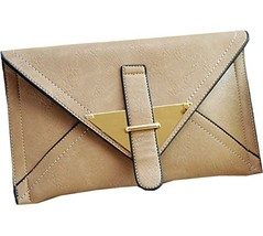 Faux Leather Clutch Bag Concise Khaki Envelope Clutch