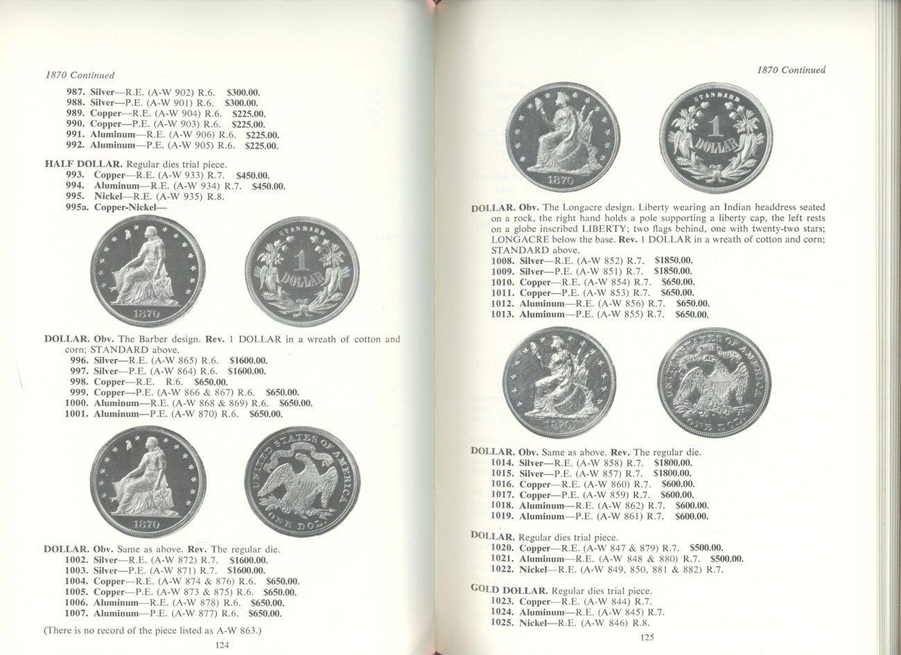 US Pattern Experimental Trial Pieces Judd book coin collecting value guide