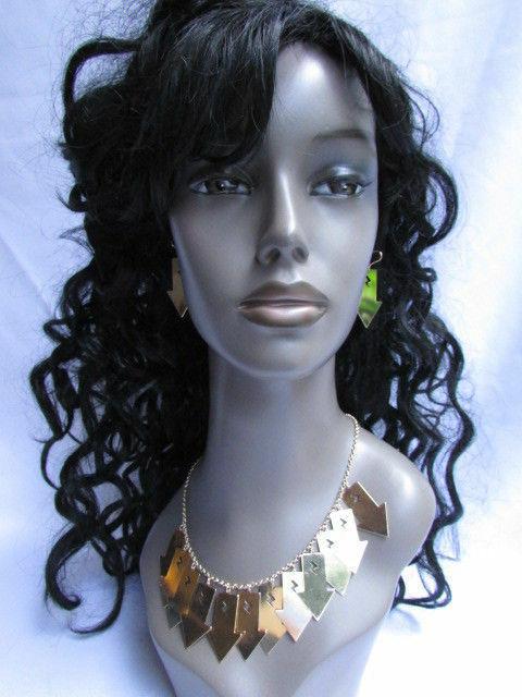 Mujer Sexy Metal Dorado Lightning Flechas Encanto Moda Joyería Collar Set image 7