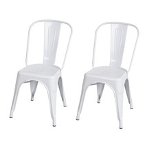 Adeco Glossy White Tolix Style Metal Bistro Chairs (Set of Two)  - $109.99