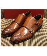 Handmade Men Tan color double monk formal shoes, Men Monk shoes, Men dre... - $169.99