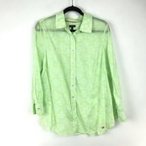 Talbots Women Sz 1XP Button Front Shirt 3/4 Sleeve Lime Green White Prin... - $23.36