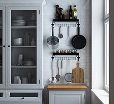 Floating Kitchen Shelf Spice Rack With 12 Hooks... - $32.84
