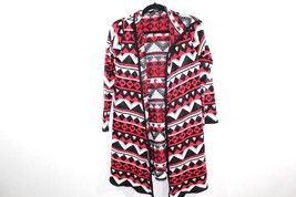 Womens One Size Hooded Chic Long Sleeve Cardigan Tribal Print Sweater Re... - $33.03 CAD