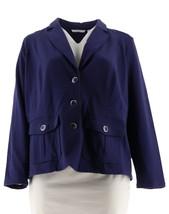 Isaac Mizrahi Knit Utility Jacket Patch Pockets Cadet Navy M NEW A279234 - $37.60