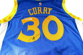 STEPHEN CURRY / AUTOGRAPHED G.S. WARRIORS BLUE SWINGMAN JERSEY / PSA/DNA & JSA image 1