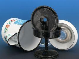 "Vintage Berggren Sweden Porcelain Enamelware Coffee Pot Percolator 6"" 2 Cup image 7"