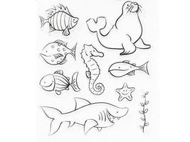Recollections Fun Fish Clear Stamp Set #170093