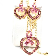 Crystal Avenue Breast Cancer Awareness Heart in Ribbon Necklace & Earring Set image 2