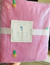 Pottery Barn Kids Oxford Pineapple Duvet Cover Pink Queen Embroidered No Shams - $94.99