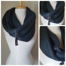 NWT Mossimo Black Infinity Scarf Wrap Winter Cozy Knit Basket Weave Fall... - $23.21 CAD