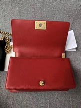 AUTHENTIC CHANEL RED QUILTED CALFSKIN 2 WAY TOP HANDLE BOY FLAP BAG RECEIPT  image 6