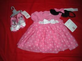 Disney Minnie Mouse Dress BODYSUIT/COSTUME W/SHOES & Headband 12-18 Mo New W/T - $33.99