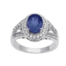 Tanzanite White Topaz Gemstone 925 Silver Solitaire Halo Stackable Clust... - $40.22