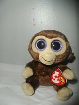 "Ty Beanie Boo Coconut Monkey 6"" Plush Doll purple glitter eyes baby - $9.85"