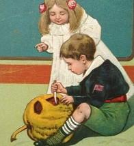 Antique Halloween Postcard Paul Finkenrath Embossed 778 Children With JOL Unused - $94.05