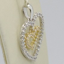 18K YELLOW AND WHITE GOLD HEART DOUBLE PENDANT CHARM WITH CUBIC ZIRCONIA image 2