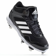 New Mens adidas Excelsior Pro Mid Baseball Metal Cleats Black/White MSRP... - $30.00
