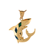 10k or 14K Yellow Gold & Simulated Opal Shark Pendant - $253.99+