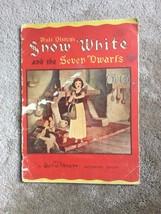 Walt Disney - Snow White And The Seven Dwarfs - 1938 Whitman LINEN-LIKE Book - $37.50