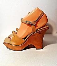 Vintage GUESS Size 8 Platform Wedge Wooden Heel Square Toe Sand Sandals Knot - $44.54