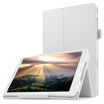 For Galaxy Tab E 8.0 White Litchi Flip Solid Color Leather Case with Holder - $10.49