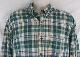 Woolrich Mens Size L Lined Flannel Shirt Green Yellow Plaid Outdoor Warm - $24.74
