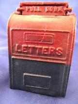 Vintage Cast Iron Mailbox Still Bank Original Red Blue Paint Ornate Deta... - $48.39