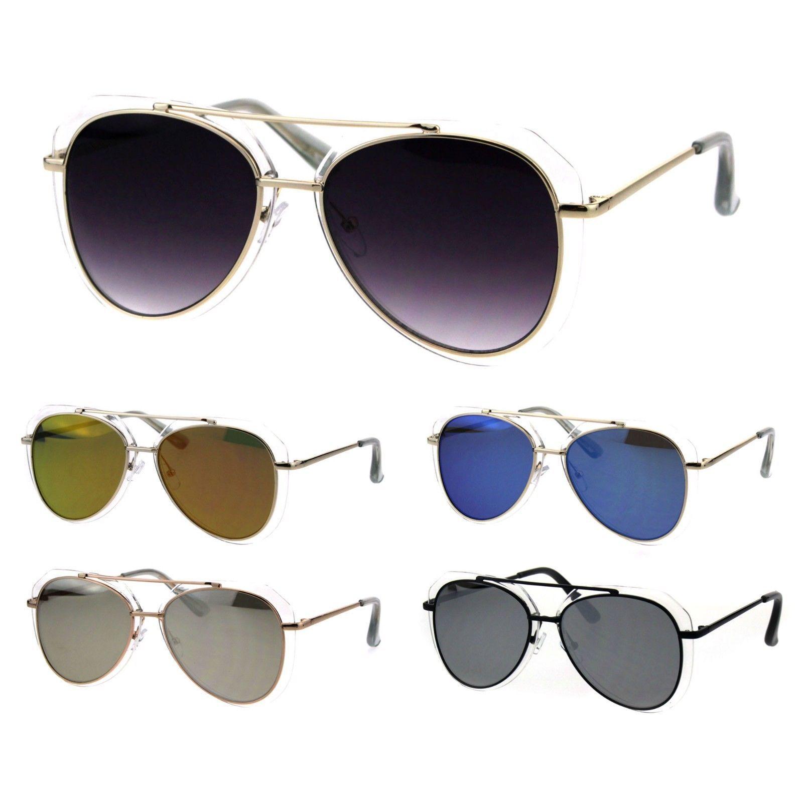 Trendy Double Rim Tear Drop Shape Racer Pilots Sunglasses
