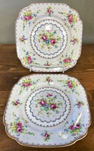 Royal Albert Petit Point Square Dessert Plate Needlepoint Floral England... - $23.36