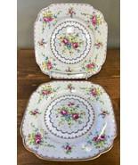Royal Albert Petit Point Square Dessert Plate Needlepoint Floral England... - $23.36