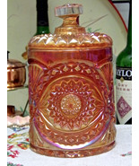 Imperial Hobstar Marigold Carnival Glass Cookie Jar And Lid - $28.66