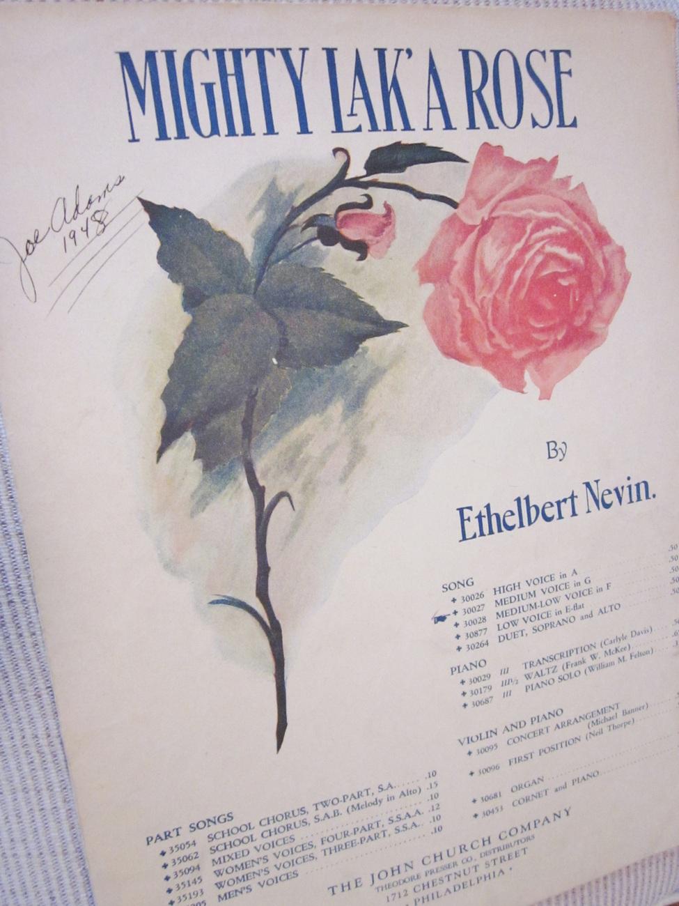 Vintage Sheet Music Mighty Lak' A Rose - E. Nevin 1901 Lot 2