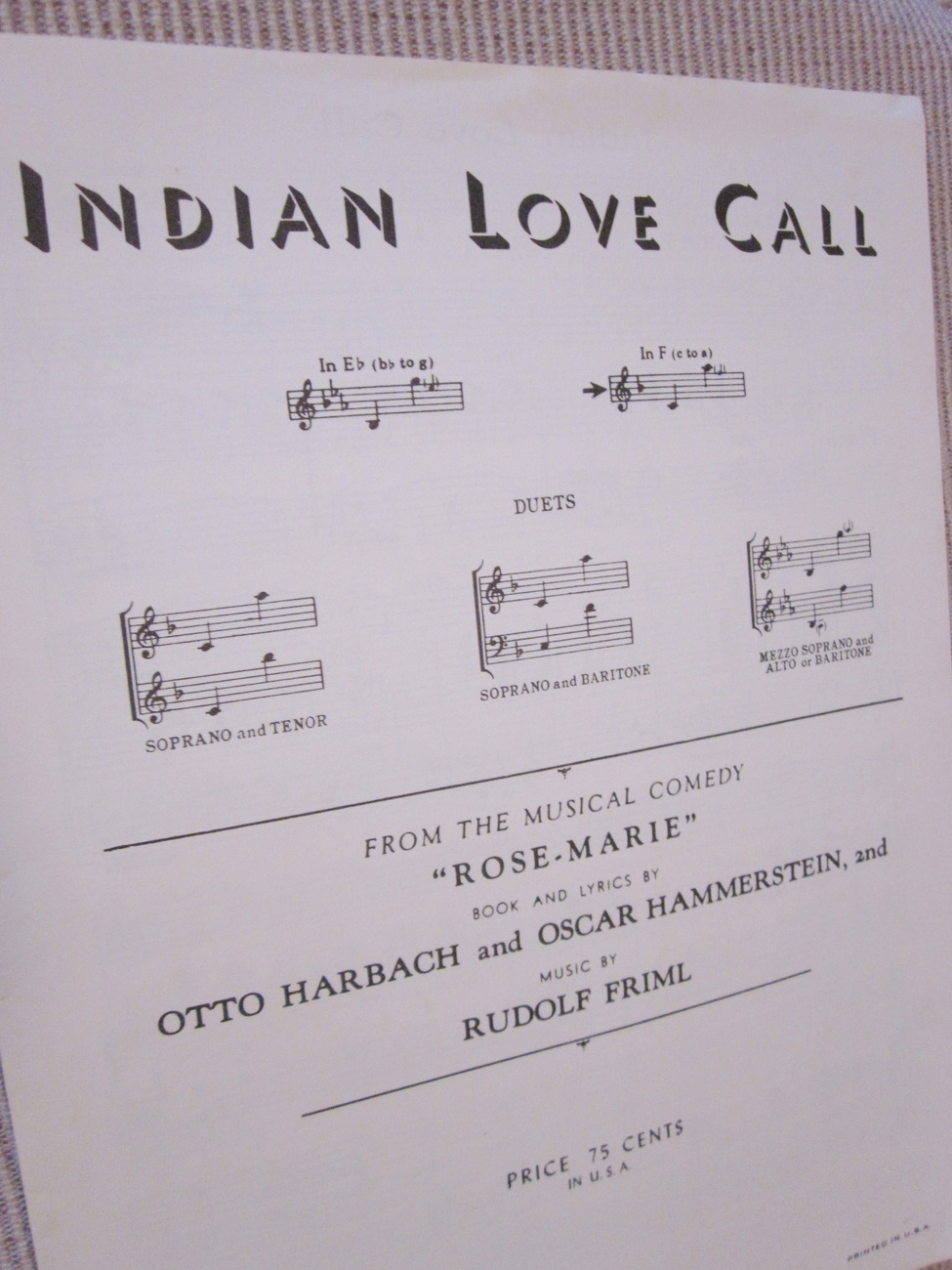 Vintage Sheet Music Indian Love Call 1924 by Harbach, Hammerstein, Friml lot 2
