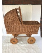 Vintage Wicker/Rattan Baby Buggy Baby Doll Carriage Wood Wheels Nice Ant... - $64.35