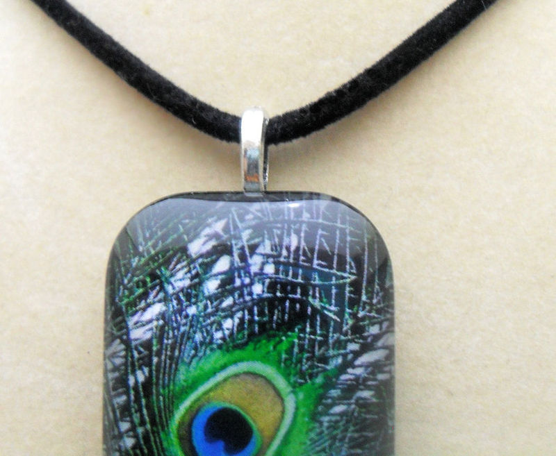 Peacock Glass Tile Fashion Necklace Pendant w/Cord