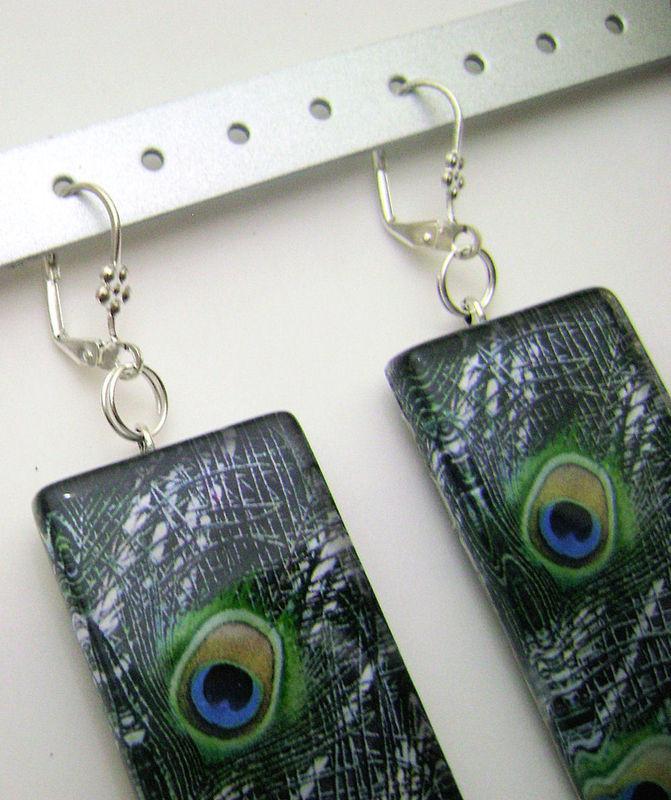 Peacock Rectangle Glass Tile Dangle Designer Earrings