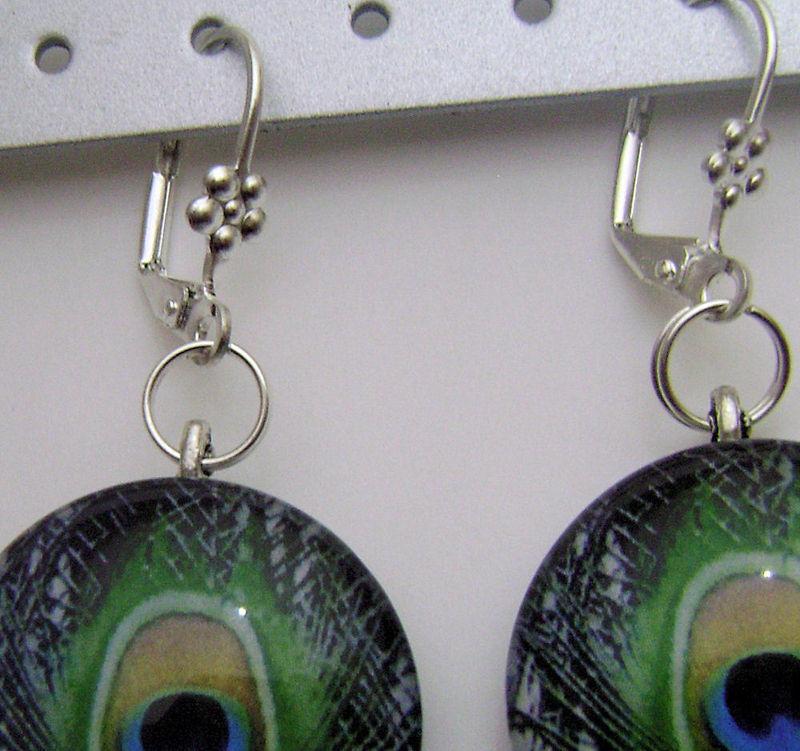 Peacock Round Glass Tile Art Dangle Designer Earrings