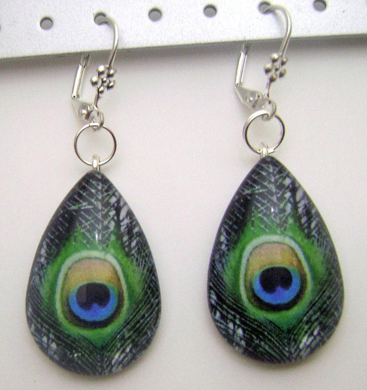 Peacock Teardrop Glass Tile Dangle Designer Earrings