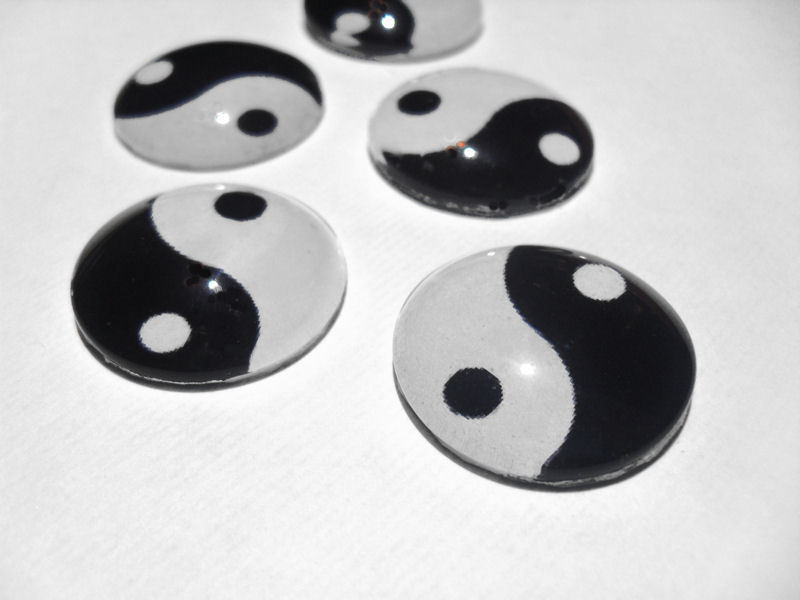 Set 5 Ying Yang Glass Tile Refrigerator Office Magnets