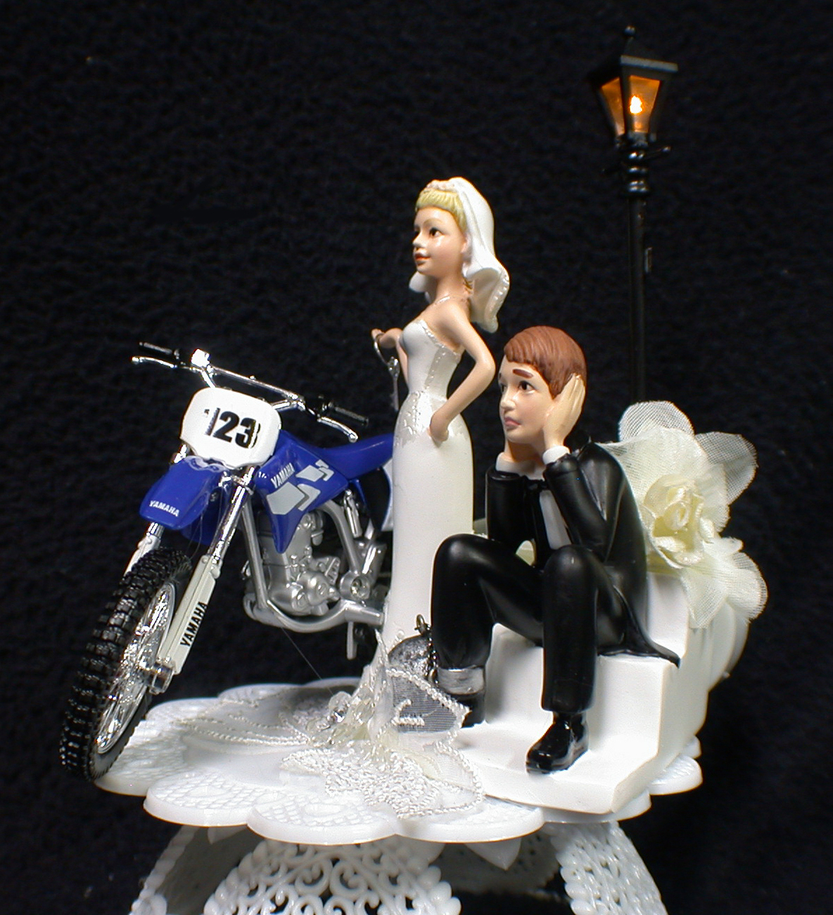 dirt bike wedding cake toppers yamaha dirt motorcycle bike blue wedding cake topper 2 13535