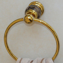 Gold Pvd clour Bathroom brass marble  towel ring new - $44.55